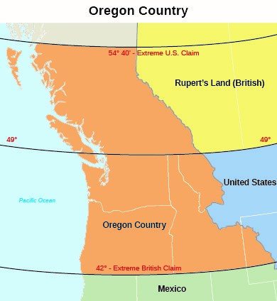 This map displays the extent of the Oregon Territory, as well as the respective claims of the United States and Great Britain, during the first half of the 19th century.