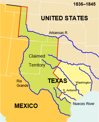 In 1845, when Texas joined the United States, Mexico insisted the United States had a right only to the territory northeast of the Nueces River. In contrast, the United States claimed all land between the Nueces and the Rio Grande.