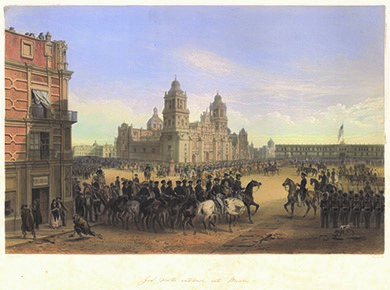 In General Scott's Entrance into Mexico (1851), Carl Nebel depicts General Winfield Scott on a white horse entering Mexico City's Plaza de la Constitución as anxious residents of the city watch. One woman peers furtively from behind the curtain of an upstairs window. On the left, a man bends down to pick up a paving stone to throw at the invaders.