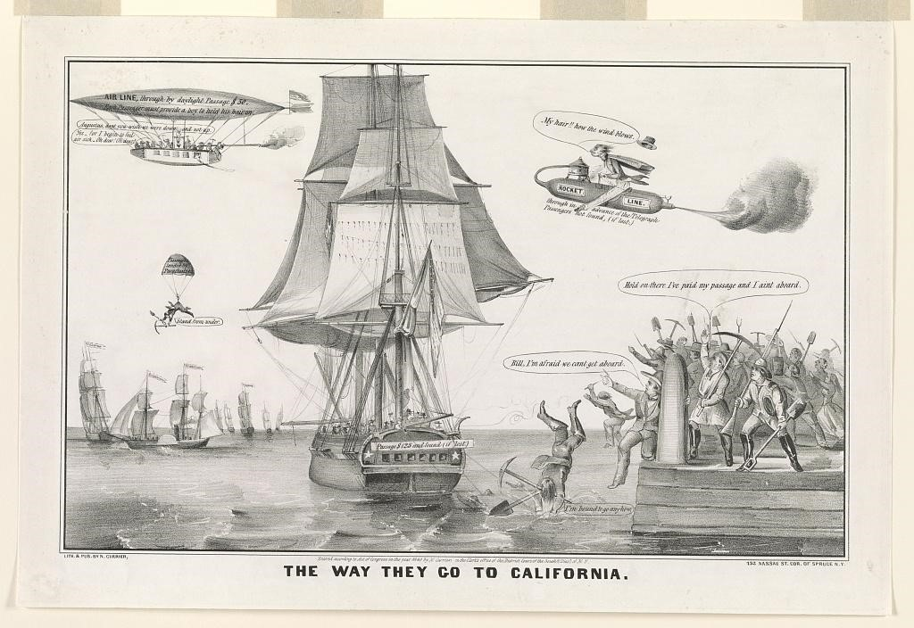 This 1849 lithograph, published by Currier & Ives, illustrates the excitement that the California Gold Rush generated within the United States, and the extreme lengths to which people might go to join it. In addition to a dock crowded by men with picks and shovels, the image includes a man flying on a rocket, others riding an airship, and one who travels by parachute.