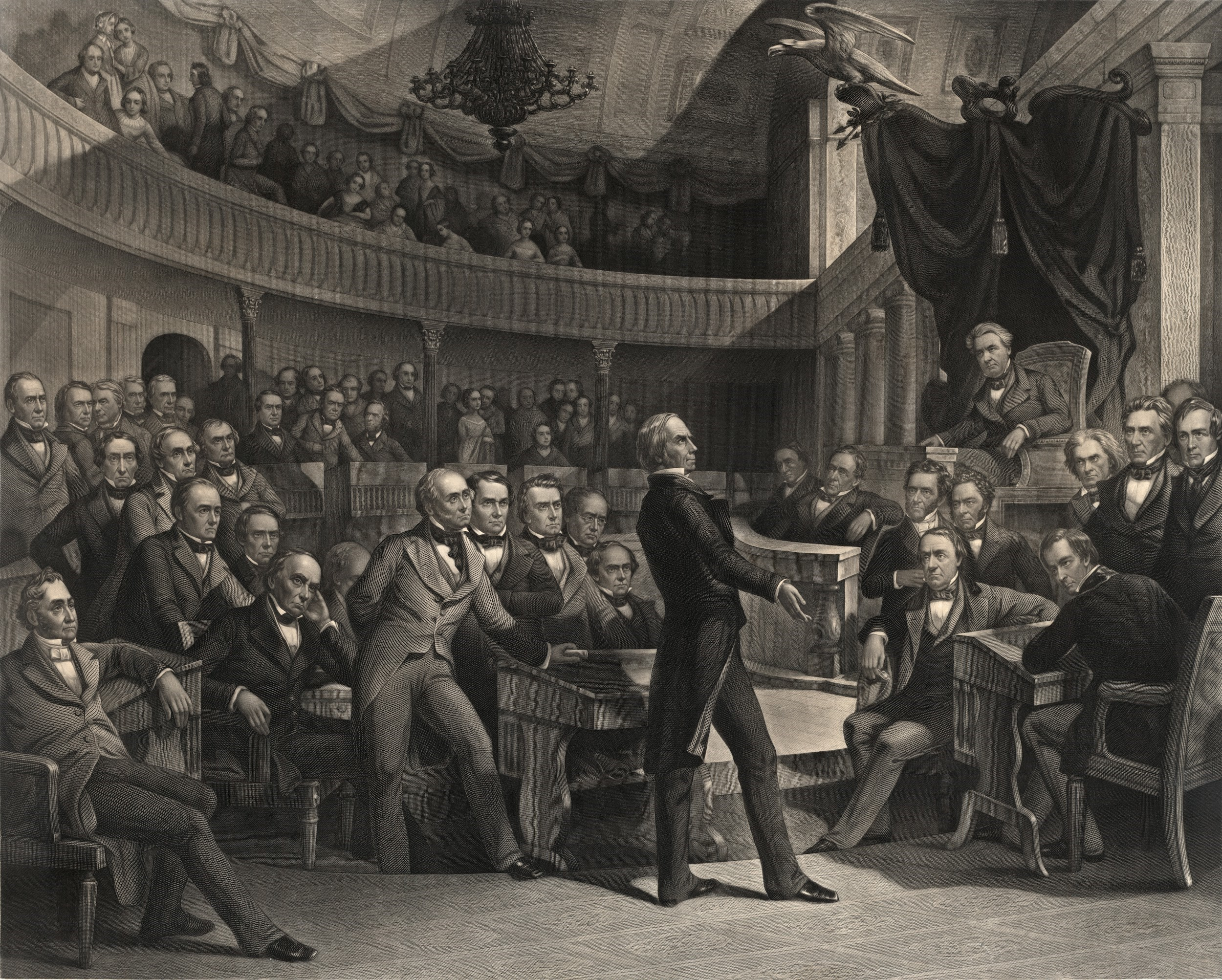 An imagined depiction of the Senate debate over Henry Clay's proposed compromise, done by P. F. Rothemel. Clay stands in the center of the chamber, addressing the Senate. Rothemel included other notable figures in the scene: Daniel Webster of Massachusetts is seated to Clay's left, while John C. Calhoun of South Carolina is seated to the left of the Speaker's chair, occupied by Vice President Millard Filmore.