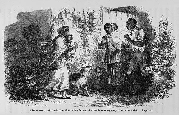 "An illustration from Uncle Tom's Cabin, captioned """"Eliza comes to tell Uncle Tom that he is sold, and that she is running away to save her child."""