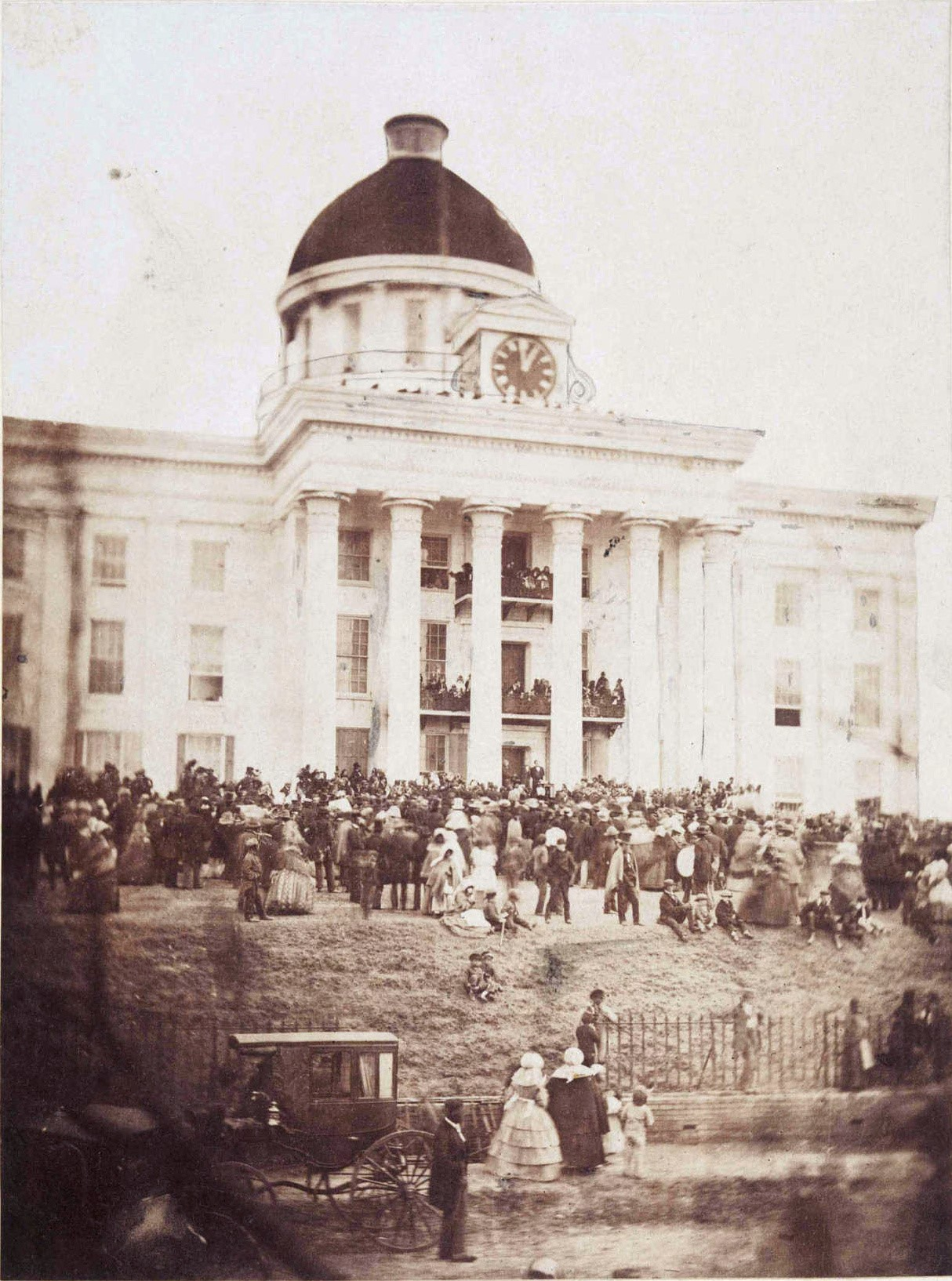 Inauguration of Jefferson Davis as the president of the Confederate States of America in Montgomery, Alabama, February 18, 1861.