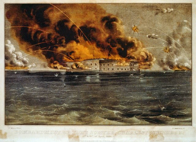 Bombardment of Fort Sumter, Charleston Harbor, April 12 and 13, 1861, published by Currier & Ives shortly after the fort surrendered to the Confederacy.