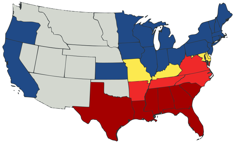 """The Union and the Confederacy, 1861. States in dark red are the original seven states of the Confederacy. States in light red (Virginia, North Carolina, Tennessee, and Arkansas) seceded from the Union and joined the Confederacy after the attack on Fort Sumter in April 1861. The northern and western states shown in blue banned slavery and remained in the Union. The four states in yellow were known as the """"border states"""": states in which slavery remained legal, but which chose to remain in the Union. The western territories are shown in gray."""