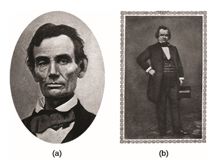 In 1858, Abraham Lincoln (a) debated Stephen Douglas (b) seven times in the Illinois race for the U.S. Senate. Although Douglas won the election, the debates propelled Lincoln into the national political spotlight.