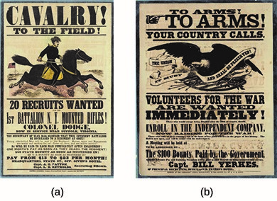The Union provided incentives, in the form of bounties, for draft-age men to enlist without waiting for the draft, as shown in recruitment posters (a) and (b).
