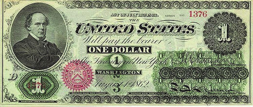 """The Union began printing these paper """"greenbacks"""" to use as legal tender as one of its strategies for funding the war effort."""