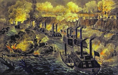 In this illustration, Union gun boats fire on Vicksburg in the campaign that helped the Union win control of the Mississippi River.