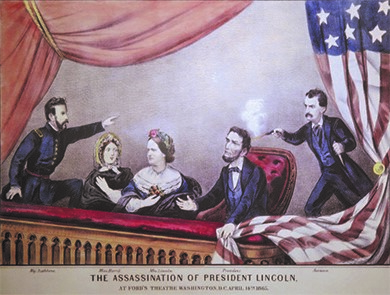 In The Assassination of President Lincoln (1865), by Currier and Ives, John Wilkes Booth shoots Lincoln in the back of the head as he sits in the theater box with his wife, Mary Todd Lincoln, and their guests, Major Henry R. Rathbone and Clara Harris.