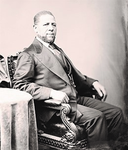 Hiram Revels (above), was born in the North and served as a chaplain in the Union Army before settling in Mississippi in 1866. He was elected by the Mississippi state legislature in 1870 as the first African-American senator in American history.