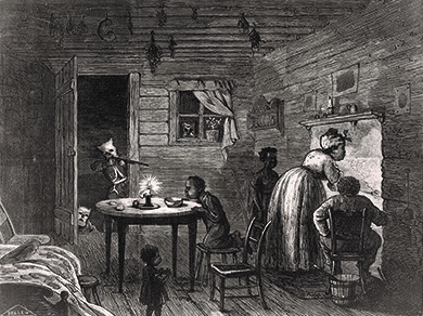 """This illustration by Frank Bellew, captioned """"Visit of the Ku-Klux,"""" appeared in Harper's Weekly in 1872. A hooded Klansman points a rifle at an unaware black family in their home."""