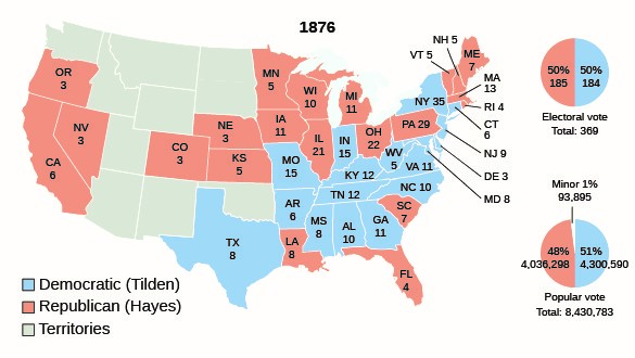This map illustrates the results of the presidential election of 1876. Tilden, the Democratic candidate, swept the South, with the exception of the contested states of Florida, Louisiana, and South Carolina.