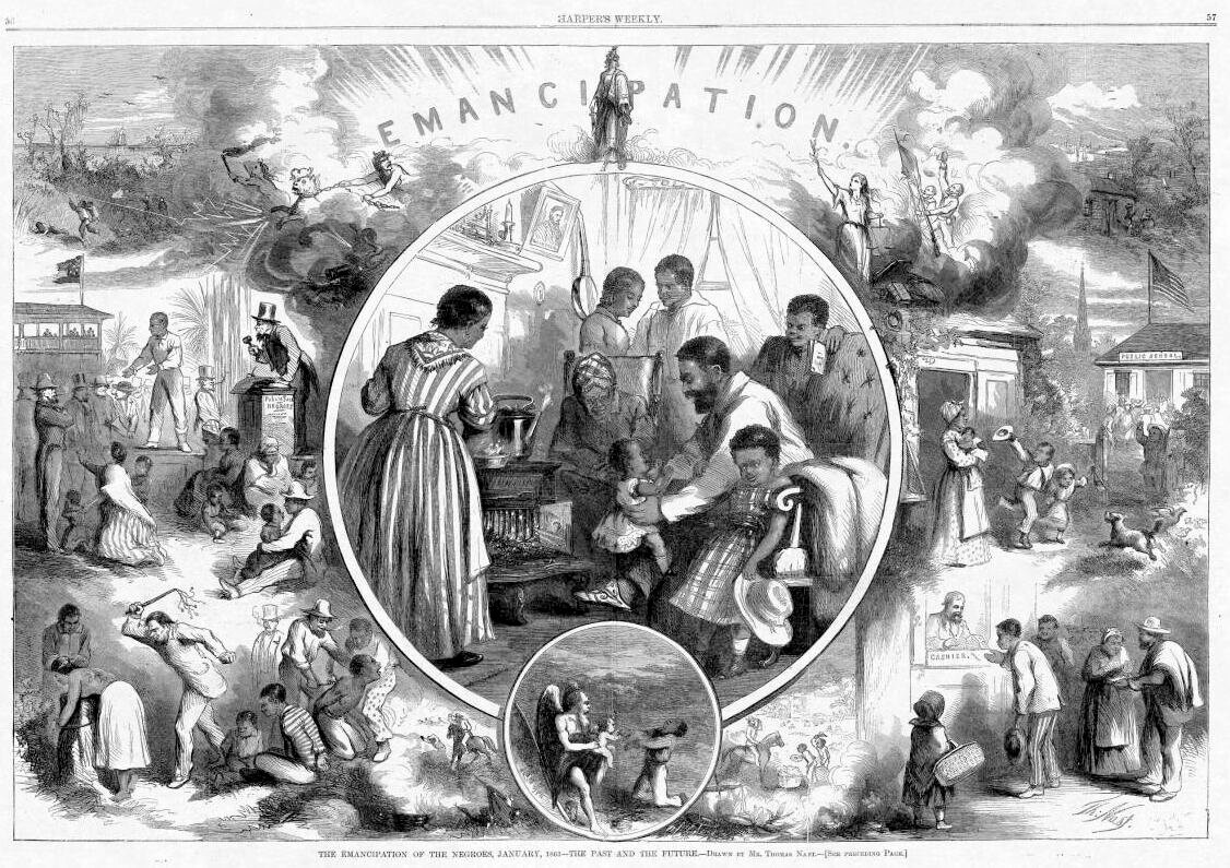 """Emancipation,"" by Thomas Nast, published in Harper's Weekly after President Abraham Lincoln issued the Emancipation Proclamation on January 1, 1863. Nast painted an optimistic picture of the future of African Americans in the United States by depicting contrasting scenes of black life in the South under slavery (left) with visions of the future for freed slaves (right). Since the Civil War, historians have debated the role that African Americans played in Reconstruction, and the extent to which the federal government should intervene to ensure equal rights to all."
