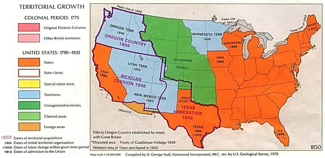 Map of U.S. territorial growth by 1850