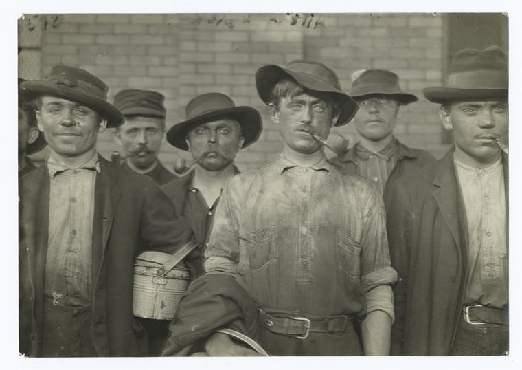 Lewis Hine photographed these Italian steelworkers in Pittsburgh, Pennsylvania in 1908.