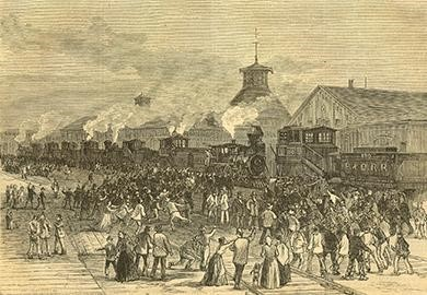 """This engraving of the """"Blockade of Engines at Martinsburg, West Virginia,"""" where the Great Railroad Strike began, appeared on the front cover of Harper's Weekly on August 11, 1877."""