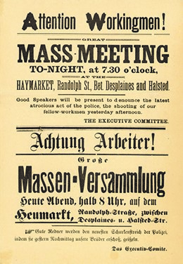 Announcement of a meeting in Chicago's Haymarket Square. The invitation is written in English and German, indicating the role that immigrants played in the labor movement.
