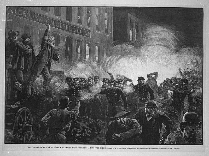 This image of the Haymarket Affair, published in Harper's Weekly on May 15, 1886, was one of the most widely-circulated images of the event. The caption reads