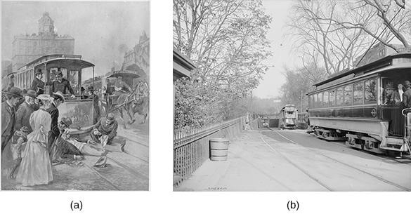 Although trolleys were far more efficient than horse-drawn carriages, they were frequently involved in accidents, as shown in this 1895 illustration from Leslie's Weekly (a). To escape the overcrowded streets, trolleys moved underground, as at the Public Gardens Portal in Boston (b). Three different lines met at this location to enter the Tremont Street Subway, the oldest subway tunnel in the U.S., which opened on September 1, 1897.