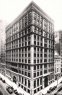 The Home Insurance Building in Chicago, considered the first modern skyscraper in the United States.