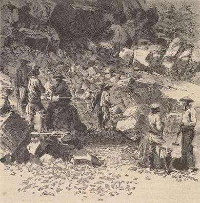 Depiction of Chinese laborers working on the transcontinental railroad, from Harper's Weekly. 
