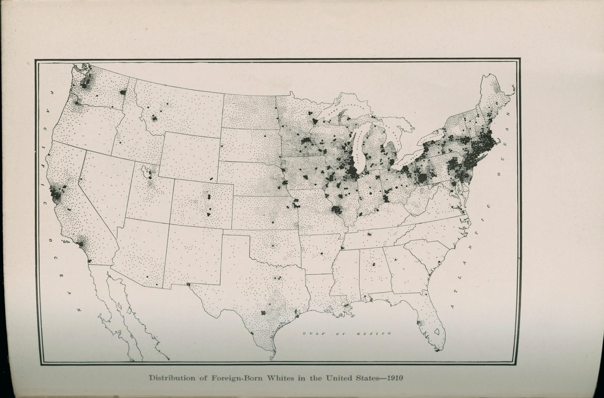"This map, titled ""Distribution of Foreign-Born Whites in the United States — 1910"" shows where immigrants from Europe had settled by the early 20th century. The darkest clusters indicate that most immigrants settled in cities, and were concentrated in the northeastern and midwestern states."