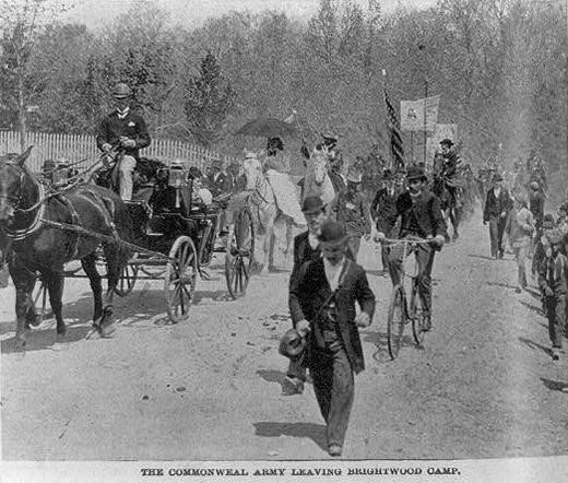 An image of Coxey's Army from Frank Leslie's Illustrated Newspaper, May 10, 1894, shortly after they reached Washington, D.C.