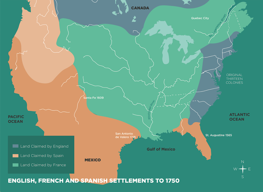 Map of English, French and Spanish Settlements