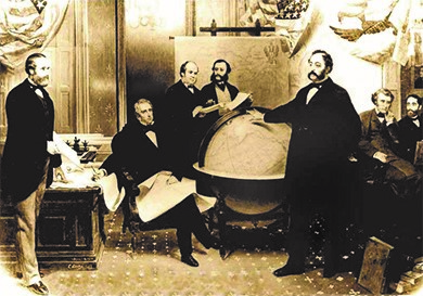 Image of American and Russian representatives signing the treaty in which the United States purchased Alaska. Seward is seated at the center; the Russian ambassador stands next to a globe with his hand above Alaska.