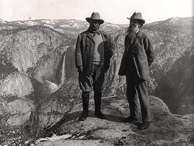 Theodore Roosevelt's interest in the protection of public lands was rooted in his personal experiences and interest in nature, and was encouraged by people like Gifford Pinchot and John Muir (pictured above with Roosevelt), the founder of the Sierra Club. Muir toured Yosemite National Park with the President in 1906.