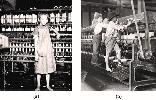 While employed by the NCLC, Lewis Hine photographed dozens of children in factories around the country, including Addie Card (a), a twelve-year-old spinner working in a mill in Vermont in 1910, and young boys working at Bibb Mill No. 1 in Macon, Georgia in 1909 (b). Working 10- to 12-hour shifts, children often operated large machines because they were small enough to reach into gaps and remove lint and other debris, a practice that often led to  injuries. (credit a/b: modification of work by Library of Congress).