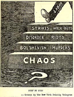 This political cartoon, published in the New York Evening Telegram in November of 1919, portrayed the labor strikes of 1919 as the first step toward revolution and chaos in the U.S.