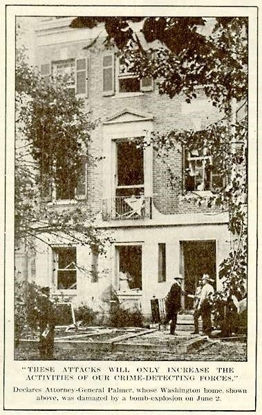 Newspaper photograph showing the damage done to Attorney General Palmer's house during the bombings of June 2, 1919. Federal investigators suspected that a group of Italian anarchists were behind the bombings.