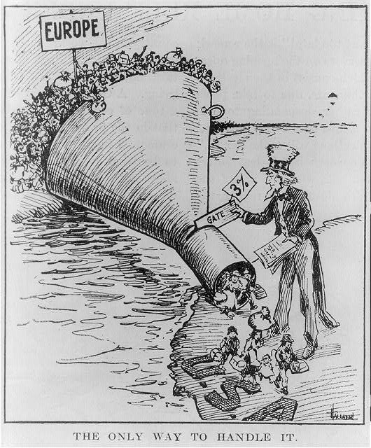 A popular political cartoon from 1921 depicts the quota system implemented by the Emergency Immigration Act. As hordes of European immigrants wait for the opportunity to migrate to the United States, Uncle Sam uses the quota system (shown as a funnel) to allow only a few into the U.S.