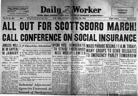The Daily Worker, the newspaper of the Communist Party of the United States, announces a march on behalf of the Scottsboro Boys.