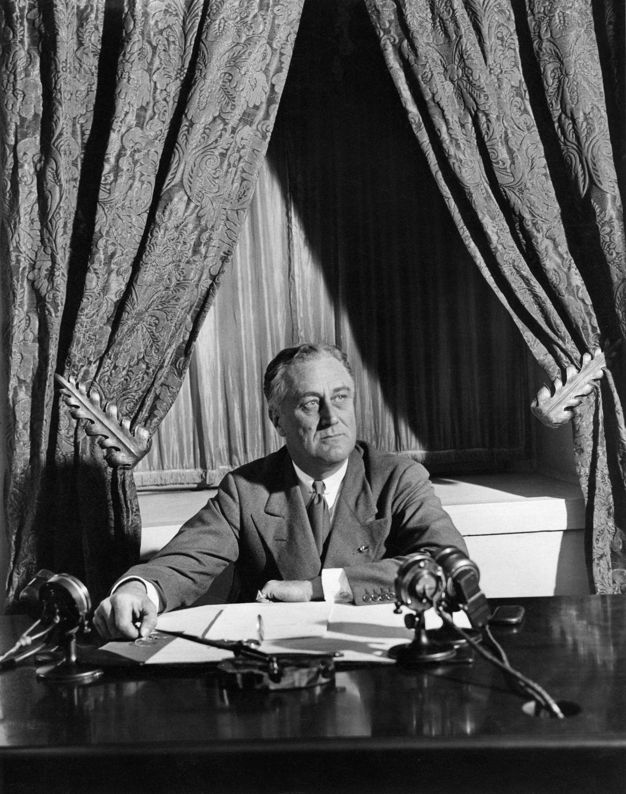 "President Roosevelt prepares to give his first ""fireside chat"" to the American people, March 12, 1933."