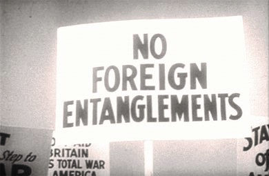 This protest sign indicates the unwillingness of many Americans to become involved in foreign conflicts prior to World War II.