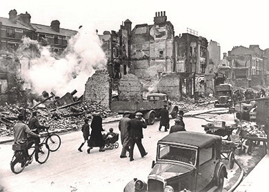 London and other major British cities suffered extensive damage as a result of bombing raids during the