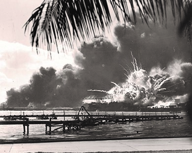 This famous photograph shows the explosion of the USS Shaw after the Japanese bombed Pearl Harbor. American losses were significant, but the Japanese lost only 29 planes and five miniature submarines.