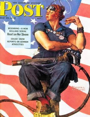 Rosie the Riveter, as depicted by Norman Rockwell on the cover of The Saturday Evening Post in 1943.