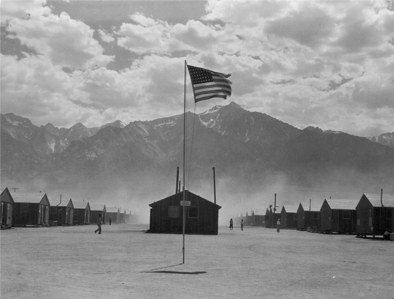 Photographer Dorothea Lange photographed the stark landscape of the Manzanar Internment Camp in California on July 3, 1942.