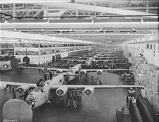 B-24 Bombers under construction at Ford's Willow Run factory, ca. 1943.