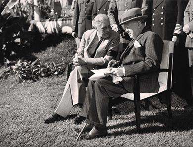 Prime Minister Winston Churchill and President Roosevelt met several times during the war. The meeting pictured above took place in Casablanca, Morocco, in January of 1943.