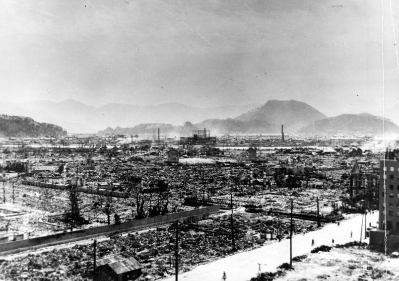 Hiroshima lay in ruins after the dropping of the atomic bomb on August 6, 1945.