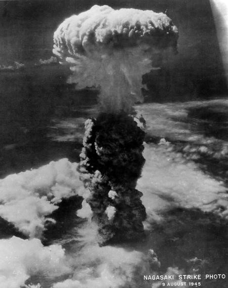 "A photograph of the ""mushroom cloud"" created by the atomic blast over Nagasaki on August 9, 1945."