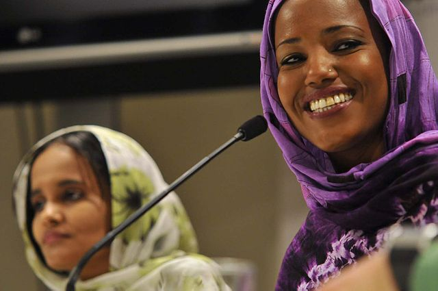 Aziza Brahim and Memona Mohamed during a press conference presentation of the movie