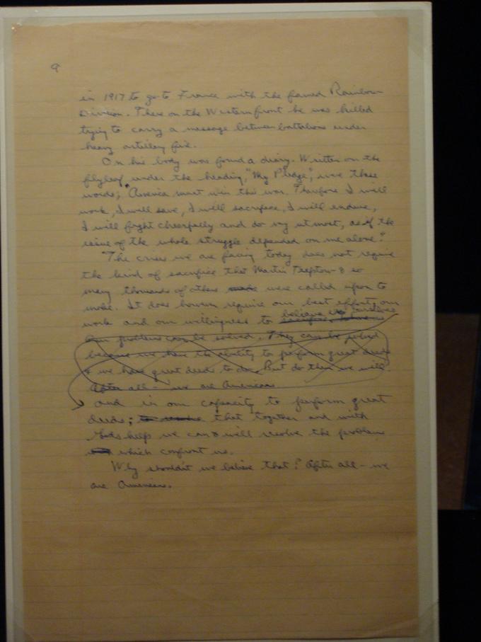 Handwritten speech notes by President Ronald Reagan