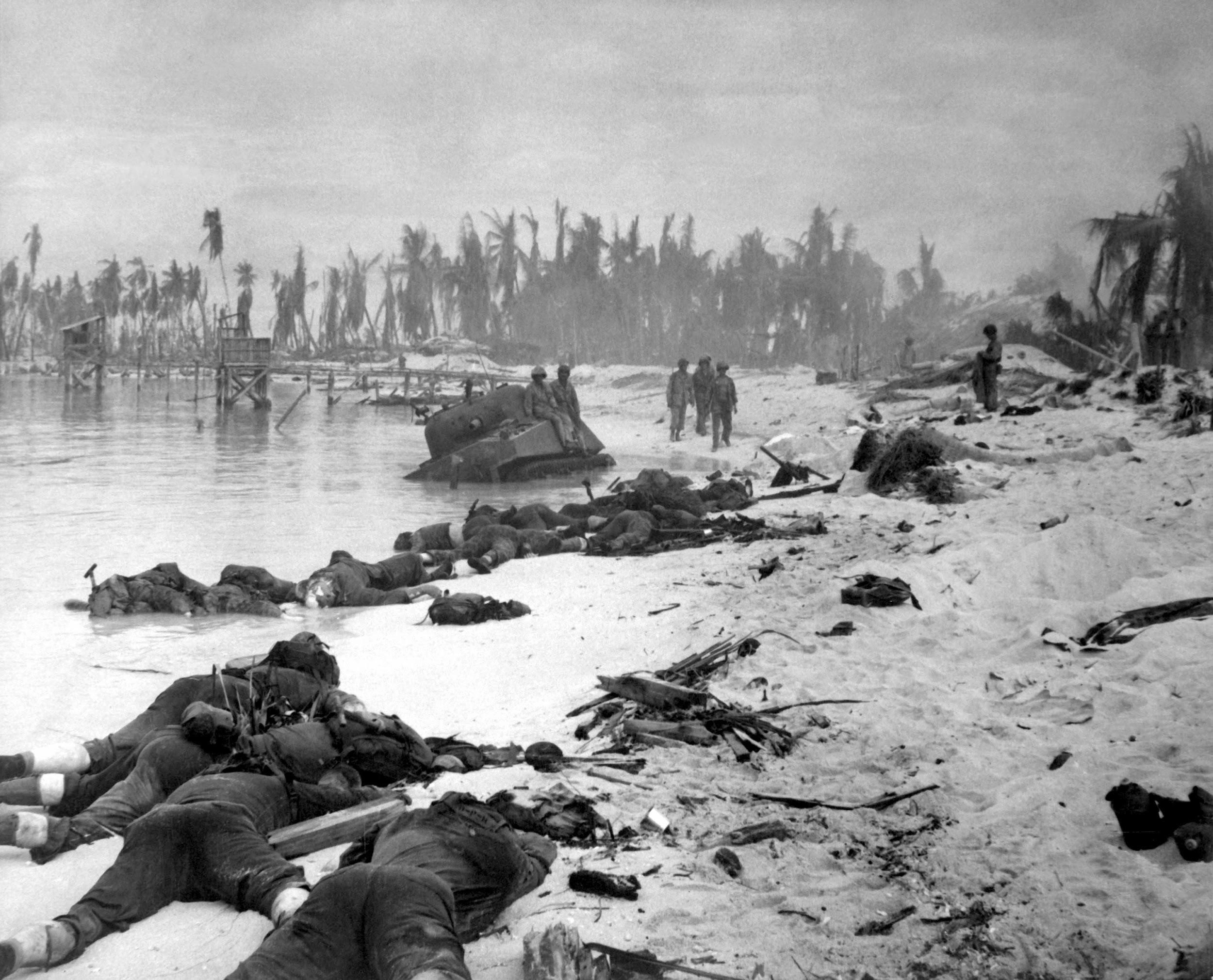 A photograph of dead American soldiers following an assault on Tarawa Atoll in the central Pacific (November, 1943). Over 900 American marines died during the battle, while the Japanese lost over 4,000 men.