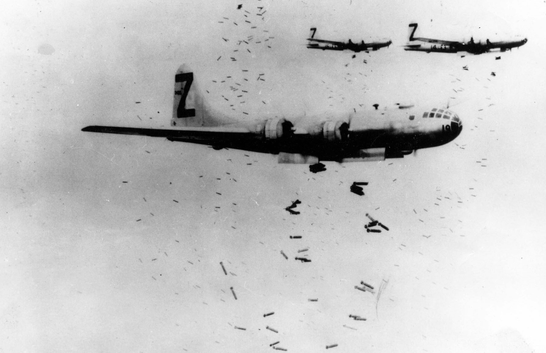 U.S. B-29 bombers drop incendiary bombs on Japan in 1945.